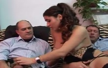 Taboo threesome with stepfather and stepbrother